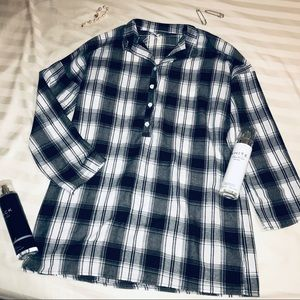 NWT Black and white checkered shirt dress